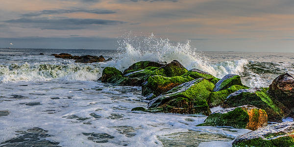 Waves On The Jetty Print by David Hahn