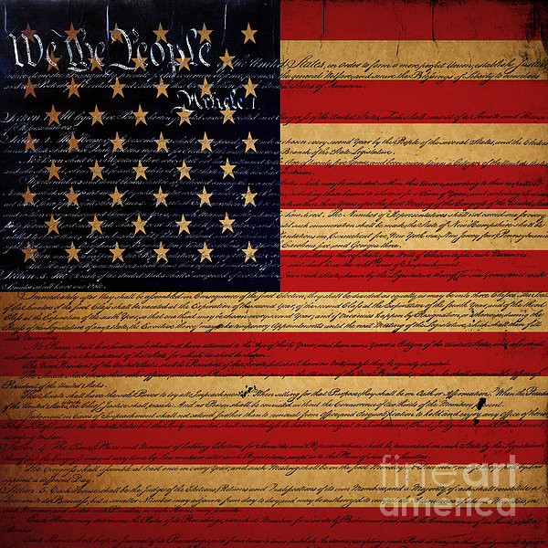 We The People - The Us Constitution With Flag - Square V2 Print by Wingsdomain Art and Photography