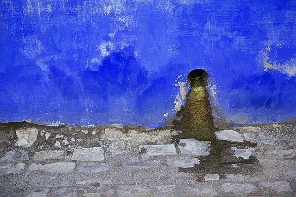 Weathered Blue Wall Of Old World Europe Print by David Letts