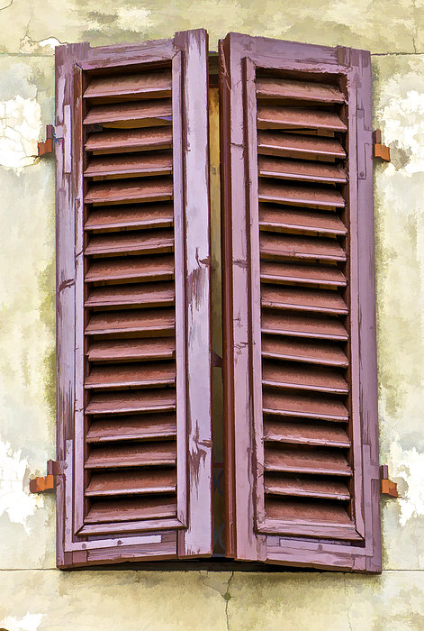 Brown Wooden Shutters : Weathered brown wood shutters of tuscany by david letts