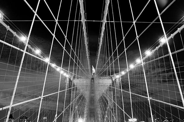 Web Of The Brooklyn Bridge Print by Kenan BUYUK SUNETCI