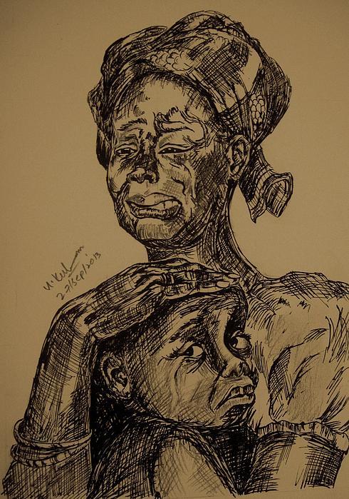 Weeping Mother And Kid Print by Umme Kulsoom