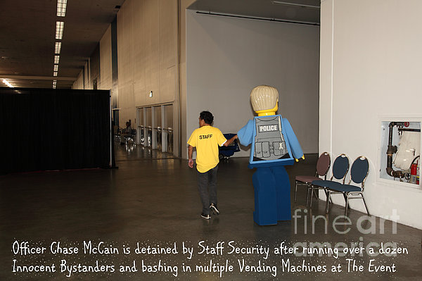 Weird Police Blotter Officer Chase Mccain Is Detained By Staff Security At The Event 5d25200 Print by Wingsdomain Art and Photography