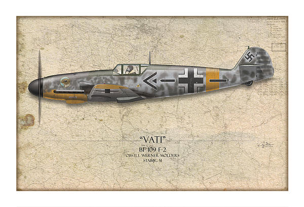 Werner Molders Messerschmitt Bf-109 - Map Background Print by Craig Tinder