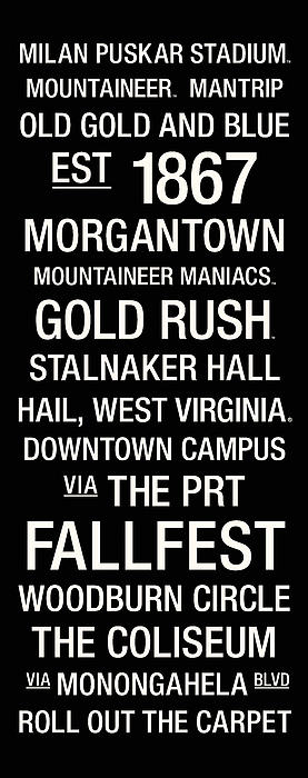 West Virginia College Town Wall Art Print by Replay Photos
