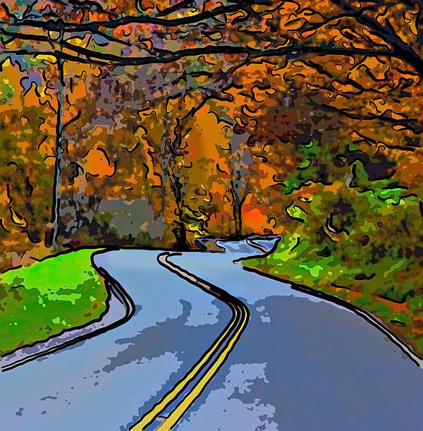 West Virginia Curves 2 Line Art Print by Steve Harrington