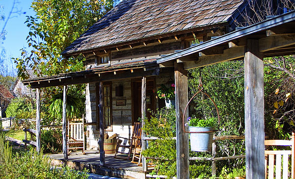 Western Log Cabin Porch By Linda Phelps