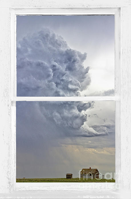 Western Storm Farmhouse Window Art View Print by James BO  Insogna