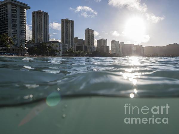 Wet Waikiki Sunrise In Honolulu Hawaii Print by Trekkerimages Photography