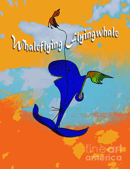 Whale Flying Flying Whale Print by Mukta Gupta