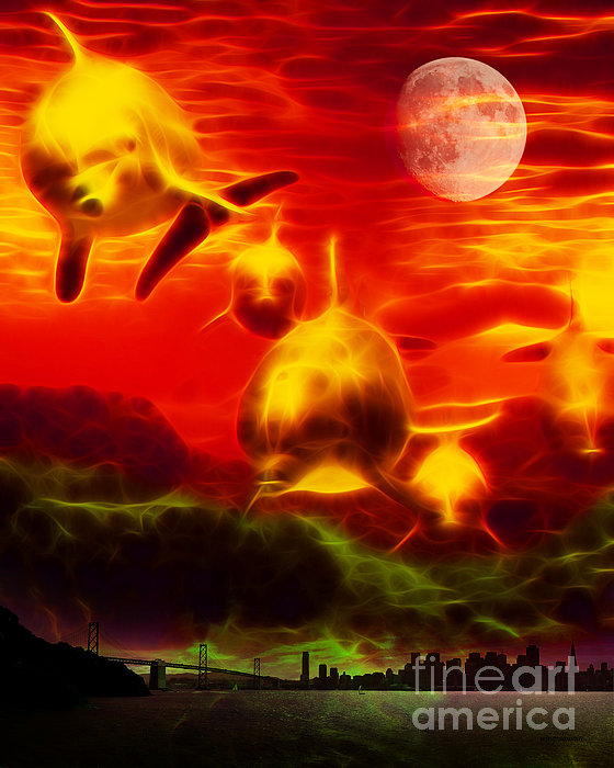 When Dolphins Cry - V2 Print by Wingsdomain Art and Photography