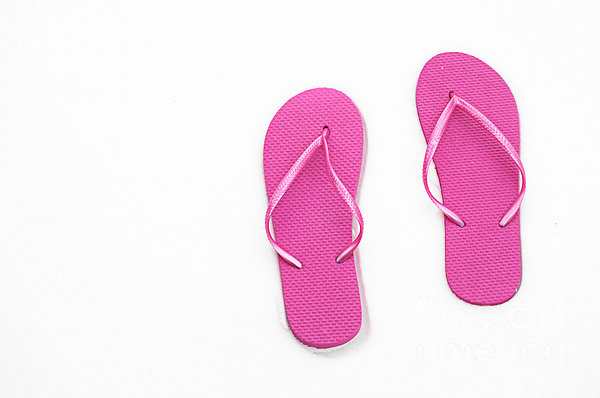 Where On Earth Is Spring - My Hot Pink Flip Flops Are Waiting Print by Andee Design