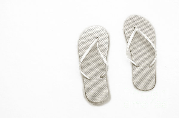 Where On Earth Is Spring - My Silver Flip Flops Are Waiting Print by Andee Design