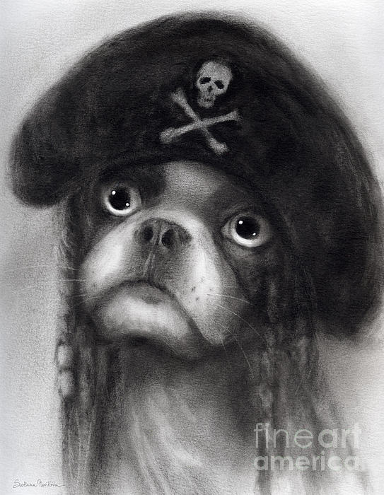 Whimsical Funny French Bulldog Pirate  Print by Svetlana Novikova