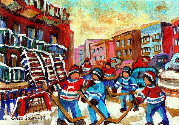 Whimsical Hockey Art Snow Day In Montreal Winter Urban Landscape City Scene Painting Carole Spandau Print by Carole Spandau