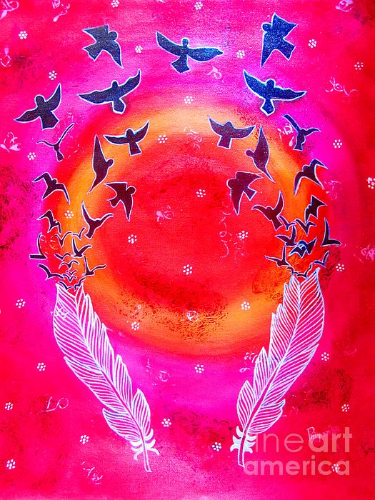 Priyanka Rastogi - Whimsical Painting-Birds with Feather