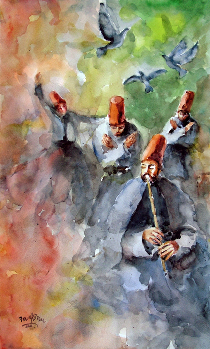 Whirling Dervishes And Pigeons Print by Faruk Koksal