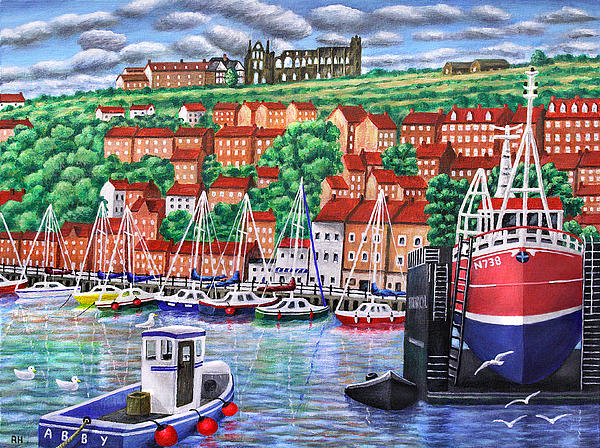 Whitby Harbour Print by Ronald Haber