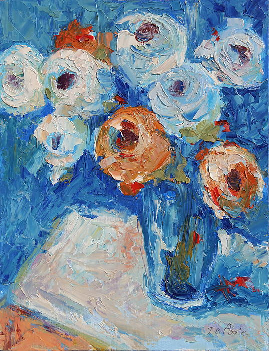 White And Orange Roses In A Sea Of Blue Print by Thomas Bertram POOLE