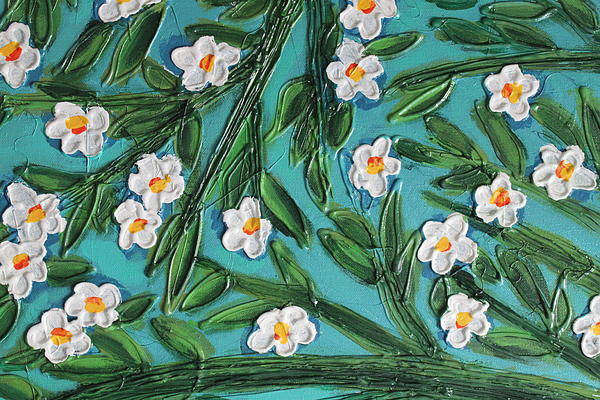 White Blooms Print by Cynthia Snyder