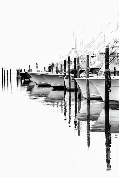 White Boats II - Outer Banks Bw Print by Dan Carmichael
