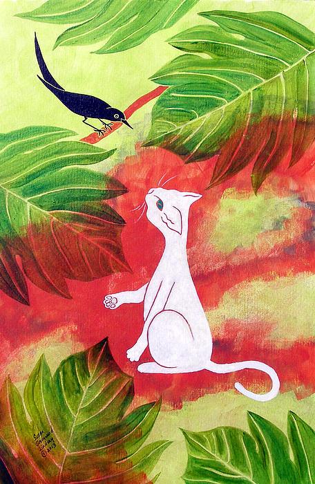 White Cat Black Bird Print by Susan Greenwood Lindsay