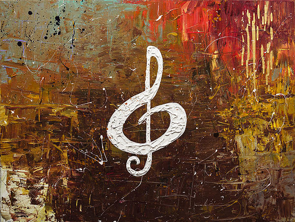 White Clef Print by Carmen Guedez