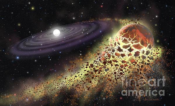 White Dwarf Shredding A Planet Print by Lynette Cook