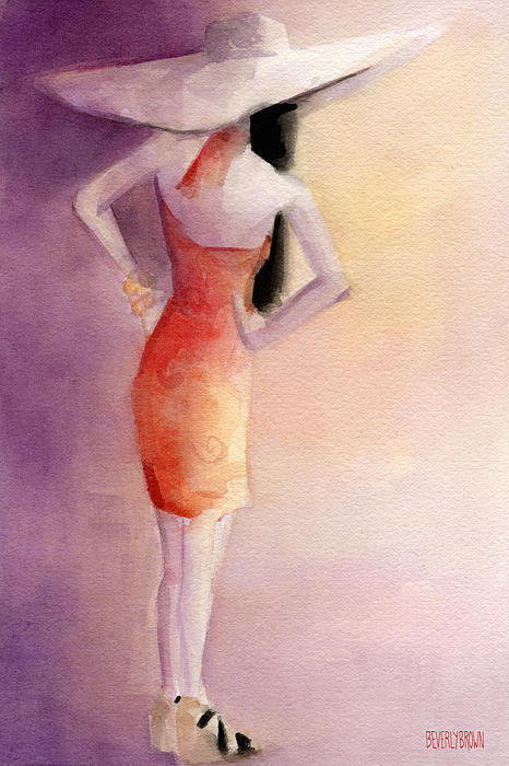 White Hat And Orange Sundress Fashion Illustration Art Print Print by Beverly Brown Prints