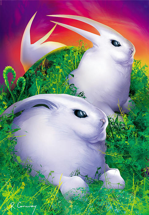 White Rabbits Print by Robert Conway