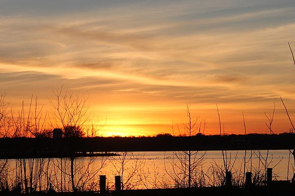 White Rock Lake Sunset Print by Lorri Crossno