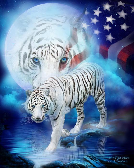 White Tiger Moon - Patriotic Print by Carol Cavalaris