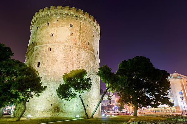 White Tower In Salonica Greece Print by Sotiris Filippou