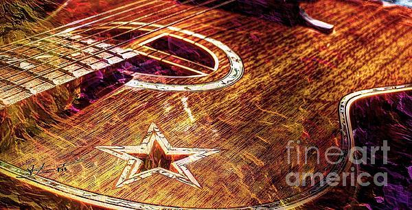 Wicked Music Digital Guitar Art By Steven Langston Print by Steven Lebron Langston