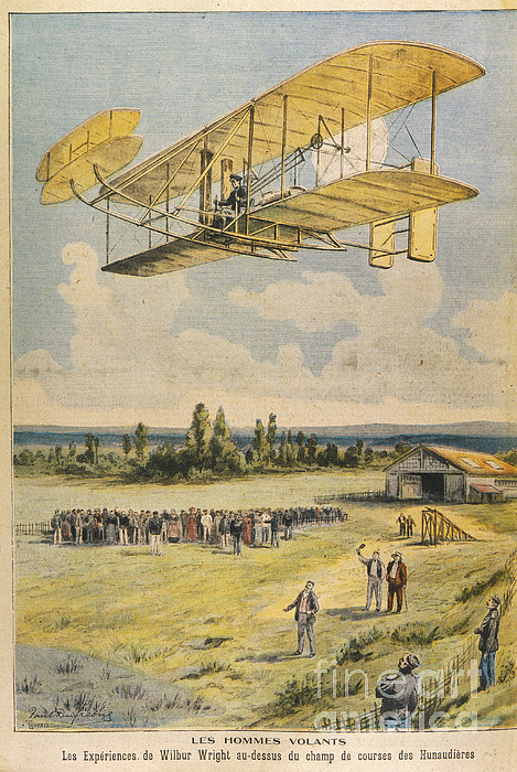 Wilbur Wright Airborne Print by Mary Evans Picture Library
