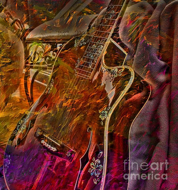 Wild Strings Digital Guitar Art By Steven Langston Print by Steven Lebron Langston