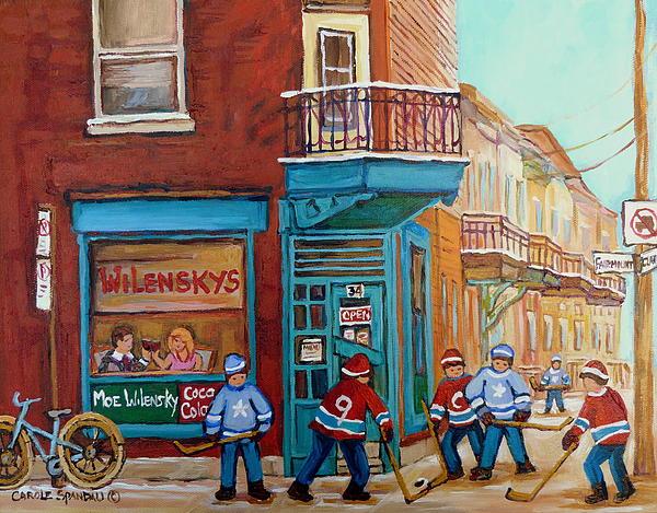 Wilensky Montreal-fairmount And Clark-montreal City Scene Painting Print by Carole Spandau