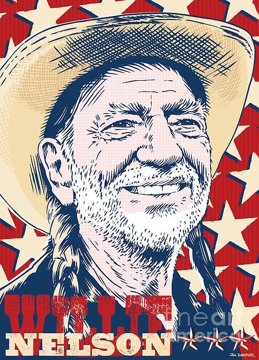 Willie Nelson Pop Art Print by Jim Zahniser