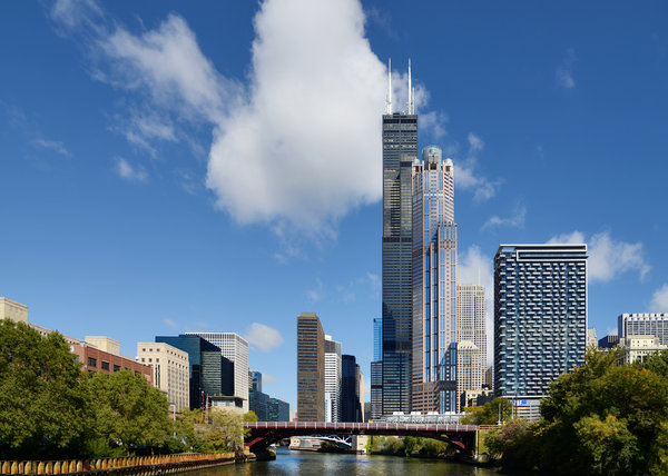 Willis Tower And 311 South Wacker Drive Chicago Print by Christine Till