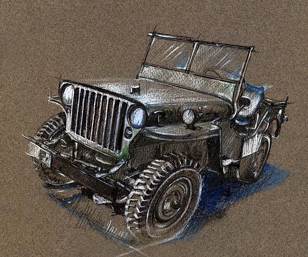 Willys Car Drawing Print by Daliana Pacuraru