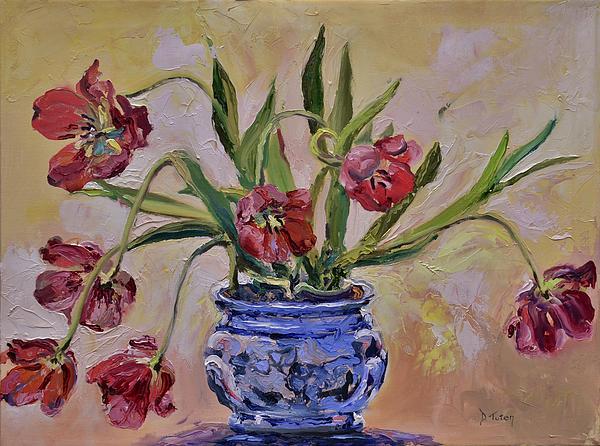 Wilting Tulips Print by Donna Tuten