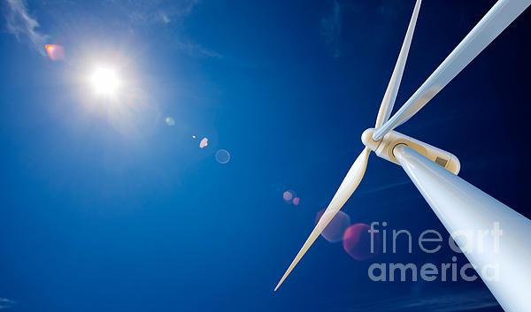 Wind Turbine And Sun Print by Johan Swanepoel
