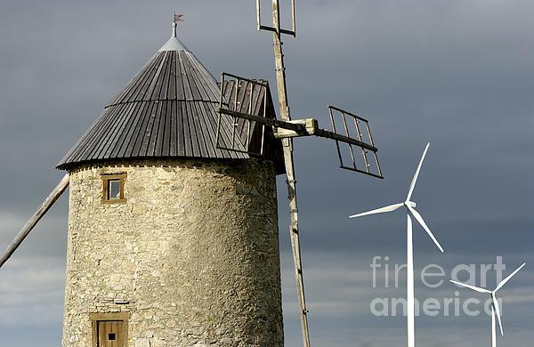 Wind Turbines And Windfarm Print by Bernard Jaubert