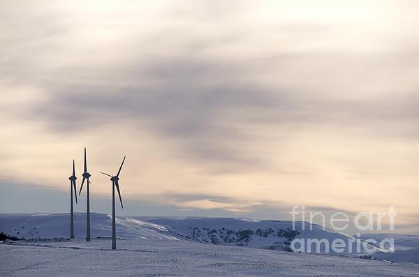 Wind Turbines In Winter Print by Bernard Jaubert