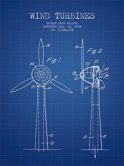 Wind Turbines Patent From 1984 Blueprint Shower Curtain