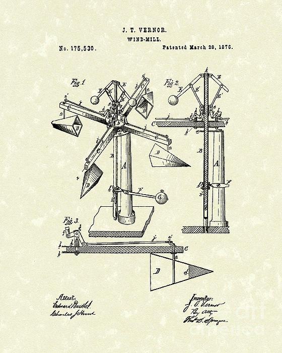 Windmill 1876 Patent Art Print by Prior Art Design