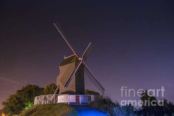 Windmill At Night Print by Juli Scalzi