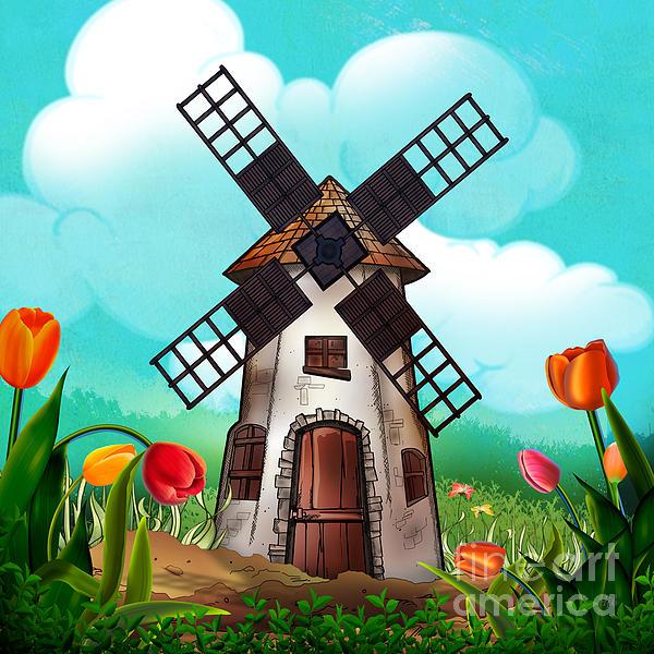 Windmill Path Print by Bedros Awak