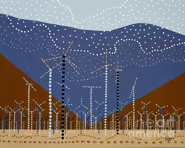 Windmills Of The Coachella Valley Print by Linda Wolf