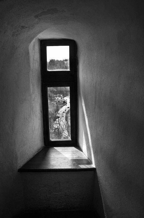 Window Dracula's Castle Interior204 Print by Dorin Stef